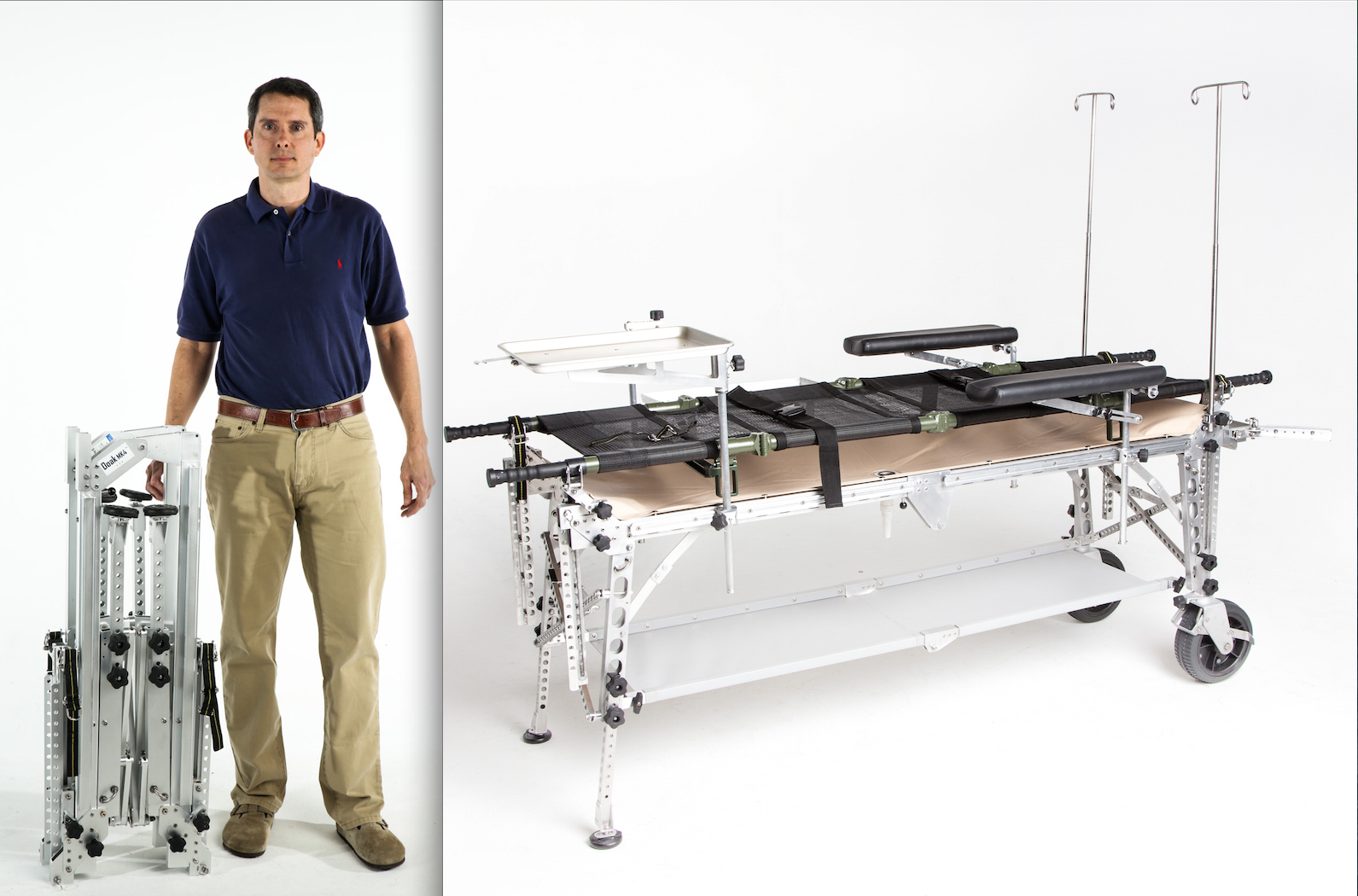 Mark W. Trimble, managing principal of Morzine Medical, stands next to the Doak Table folded. The tables are used in surgical procedures out on the battlefield by the U.S. Army and Navy, and can be put together in less than a minute.