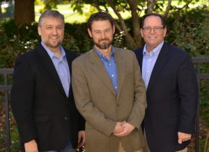 The NexDefense co-founding and leadership team from left: Derek Harp, executive chairman; Michael Assante, chief security strategist; and Michael Sayre, president and CEO.