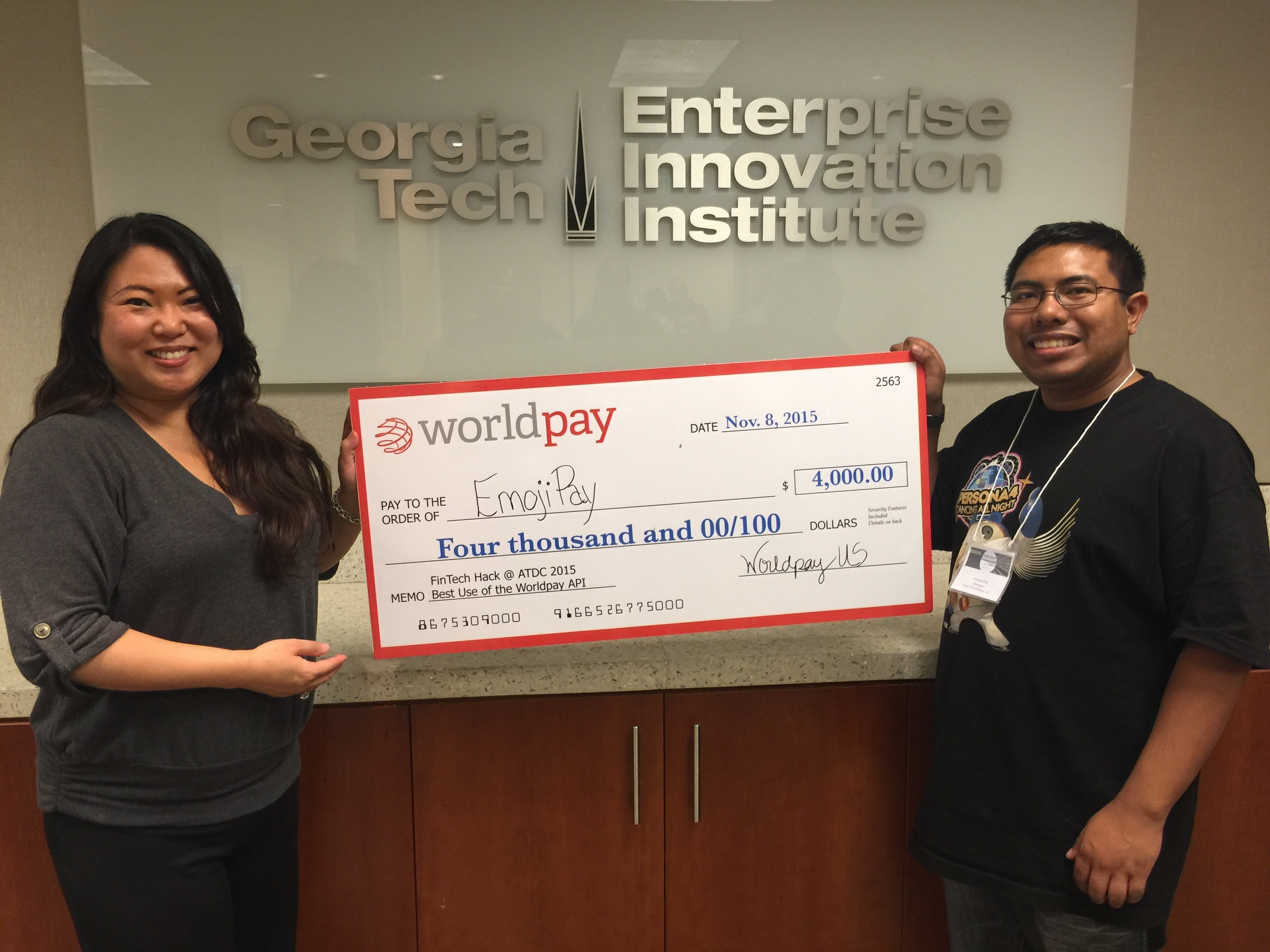 FinTech Hack @ATDC 2015 Awards Best Use of Worldpay APIs Winner: Emoji Pay