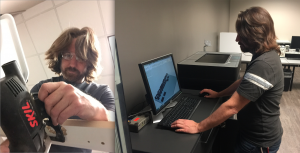 Shane Matthews, ATDC's professional advisor works on the buildout of the design studio in the photo at left. In the photo at right, Matthews reviews a project he is sending to the 3D printing machine. Matthews will run the design studio.